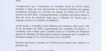 ELEIÇÃO PARA REITOR DA UNIVERSIDADE NACIONAL TIMOR LOROSA'E (2021- 2026)